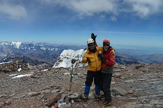Inka Expediciones Guide Agustin Aramayo, Dangles And Jerome Ryan With The Aconcagua Summit 6962m Cross And Aconcagua South Summit Behind